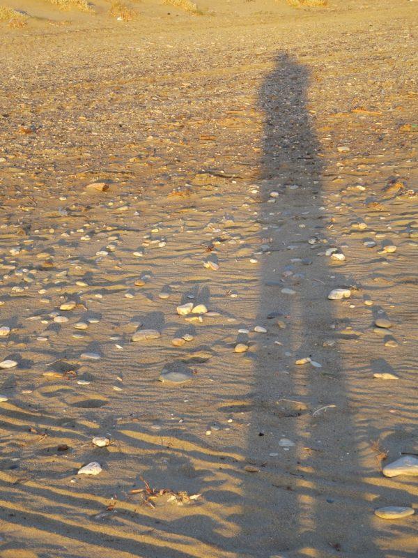 ein großer einzelner Schatten eines Menschen am Strand