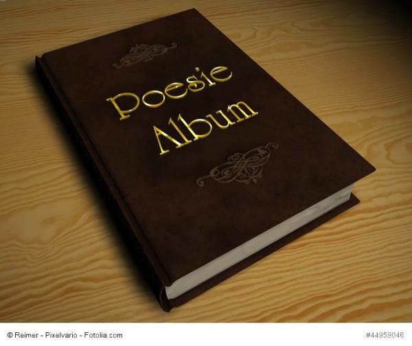 Ein braunes Poesiealbum mit goldener Schrift auf einem Holztisch