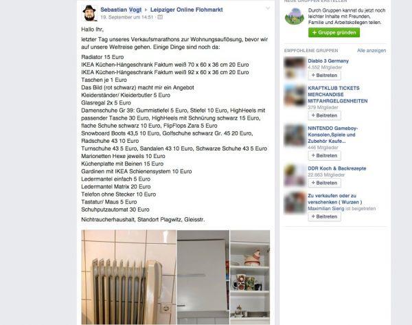 Screenshot einer Verkaufsanzeige in einer Facebook-Gruppe