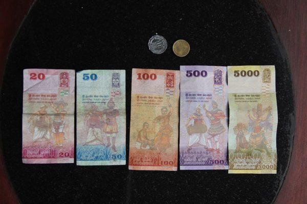 Geldscheine und Münzen auf einem schwarzen Untergrund