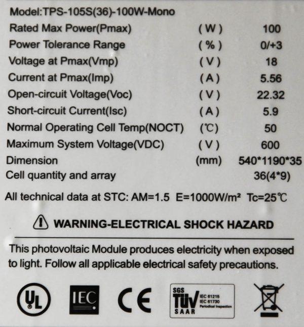Die technischen Daten meiner Solarpanels