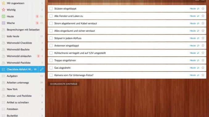 Wohnmobil Checklisten