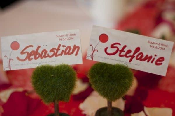 Zwei Namensschilder mit Stefanie und Sebastian