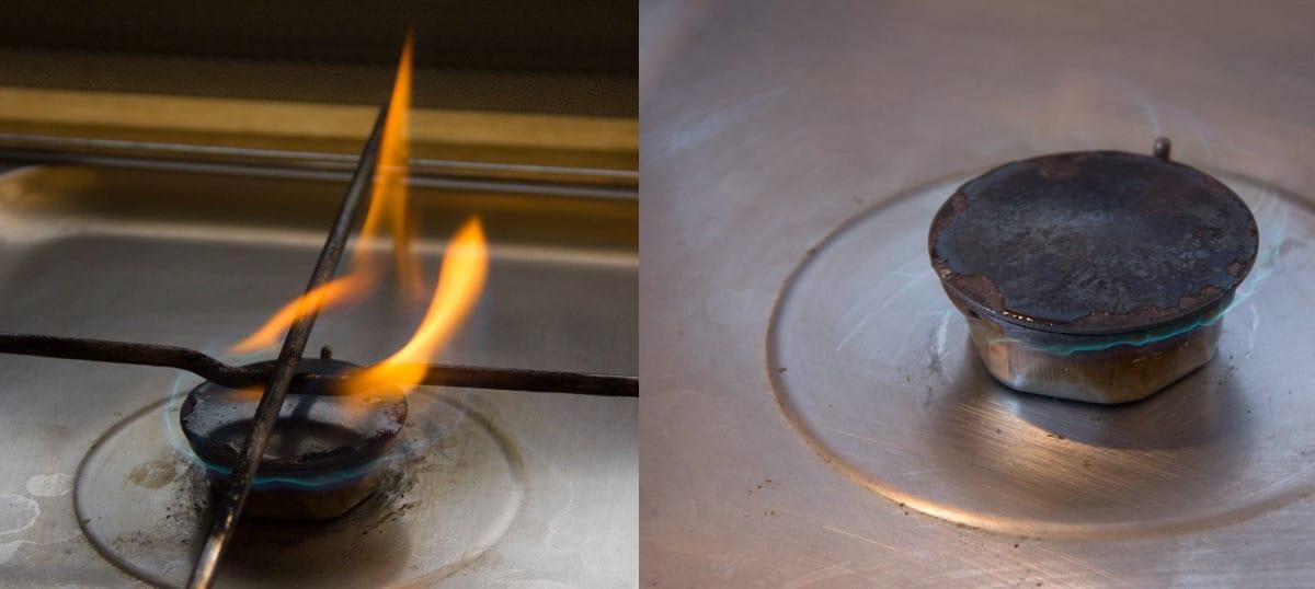 gasherd ru t und brennt mit gelber flamme reparatur arbeiten unterwegs. Black Bedroom Furniture Sets. Home Design Ideas