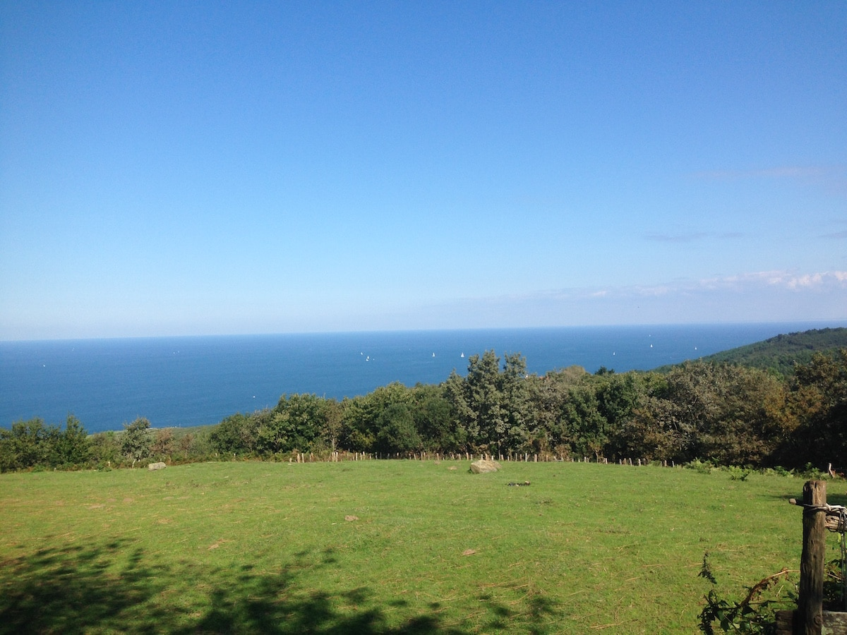 Der Blick aus den spanischen Bergen über eine Wiese auf's Meer.