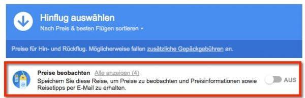 Alert bei der Google Flugsuche