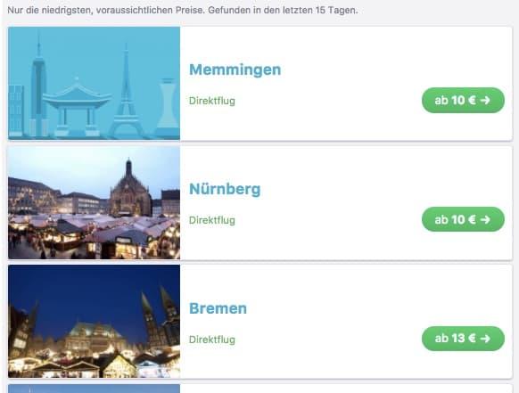 Liste mit Ergebnissen, hier gekürzt, es sind insgesamt 7 Städte.